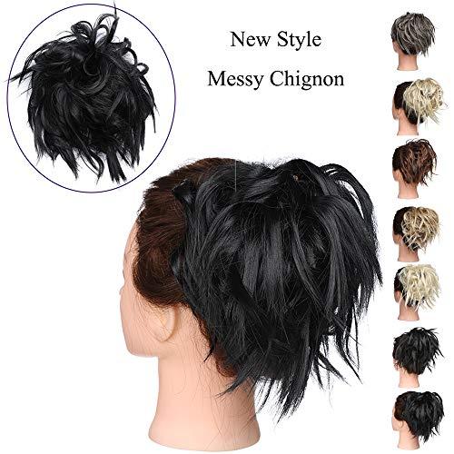 Elailite Chignon Capelli Extension Elastico Finti Neri Posticci Ricci Messy Hair Bun Updo Ponytail Extensions Coda di Cavallo Ciambella 45g, Nero Scuro