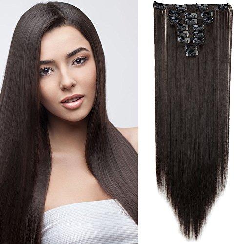 Elailite 65cm 26pollici Hair Extension Capelli Clip in Estensioni Effetto Naturale 8 Fasce Full Head Capelli Lunghi Lisci Straight, Marrone Scuro