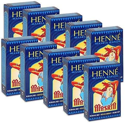 10x Henne Masria - Henne rapido ROSSO ARDENTE - 90 g | Hennè, tinte e colorante per capelli a base Vegetale