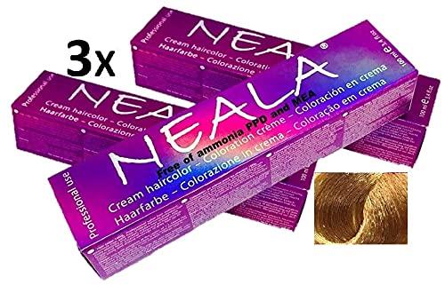 Pack 3 - Tintura professionale colorazione per capelli SENZA AMMONIACA, PPD o MEA - 9.4- BIONDO CHIARISSIMO RAMATO - NEALA 3 x 100ml.