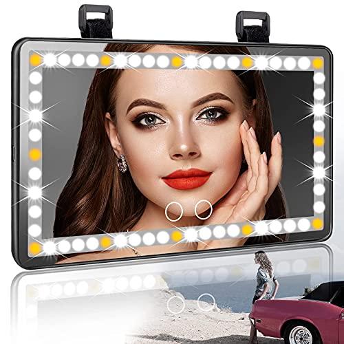 Specchietto per Visiera Auto, Specchio per Il Trucco Dell'Auto Led Specchio per Il Trucco Dell'Auto con Visiera Illuminata Per Auto con 3 Modalità Di Illuminazione E 60 Led per Suv per Camion Auto