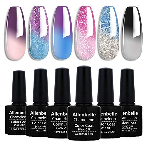 Allenbelle Smalto Semipermanente Camaleonte Nail Polish UV LED Gel Unghie (Kit di 6 pcs 7.3ML/pc)