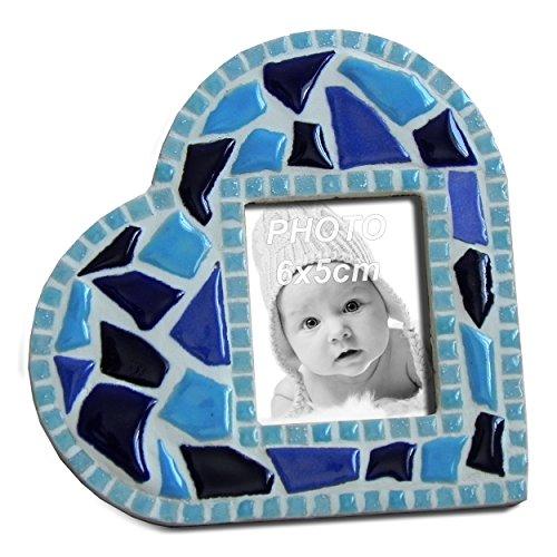ALEA Mosaic Kit Mosaico, Cornice per Foto, Cuore Blu, 11x11 cm