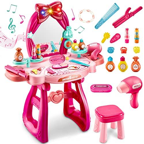 LINFUN KIDS Giocattolo di Trucchi Tavolo da Toeletta, Specchio con Luci e Suoni , Bellezza Gioielli Giocattolo Giochi Principessa Bambina 3 Anni