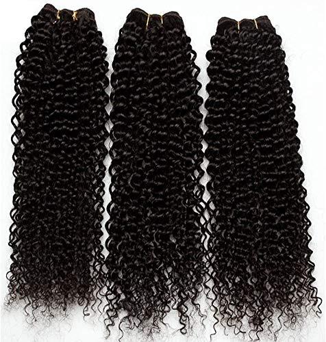 55cm Extension Capelli Veri Tessitura Matassa Ricci Kinky Curly 3 Ciocche Remy Human Hair Naturali Umani, 300g/pack