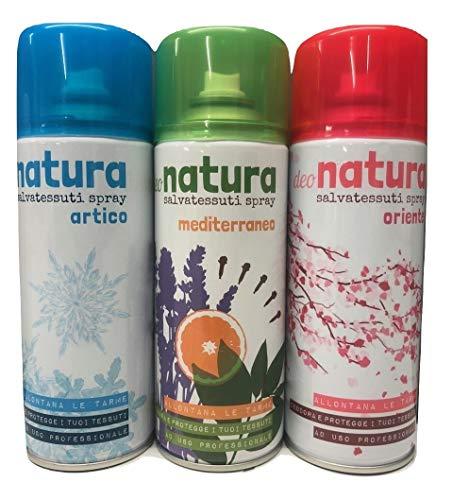 Rampi Deodorante Spray Profumo Natura Salvatessuti Mangiaodori Iginizzante Allontana Tarme per Tessuti Ambienti Auto Tende Scarpe Set 3 Bombolette (Artico, Mediterraneo, Oriente)