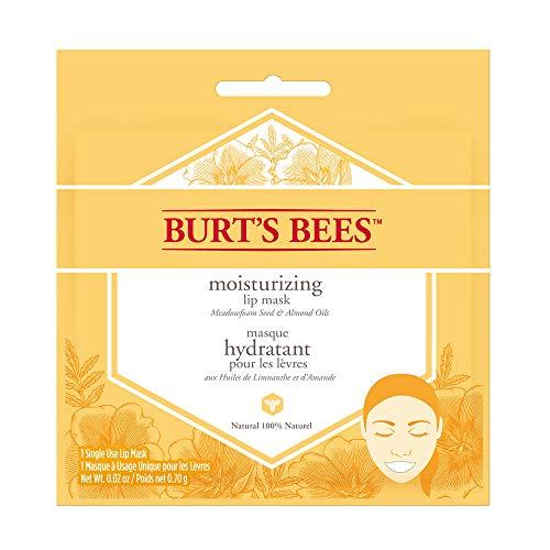 Burt's Bees - Maschera idratante naturale al 100% per labbra, balsamo per la cura delle labbra con semi di schiuma di prato e oli di mandorle
