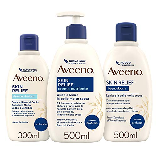 AVEENO Skin Relief Set Routine Bagno Doccia, Shampoo, Crema Nutriente, Pelli Molto Secche e Sensibili, Risultati Clinicamente Provati