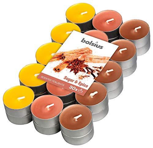 Bolsius 30 Tealights +/-4h, 3 Colori, Fragranza Zucchero e Spezie