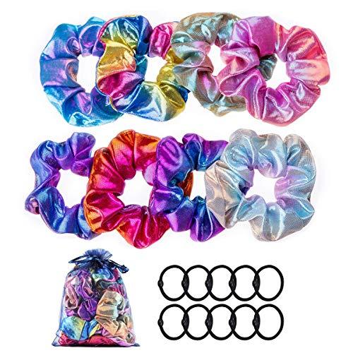 Scrunchies Metallico Elastici Capelli per ragazze e bambine, Elastico Fasce, Capelli Scrunchies tessuto arcobaleno 8 pezzi + fasce per capelli elastiche nere 10 pezzi