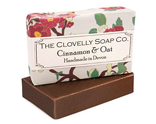 Clovelly Soap Co Saponetta Esfoliante Naturale e Fatta a Mano con Cannella e Avena, per Tutti i Tipi di Pelle, 100gr