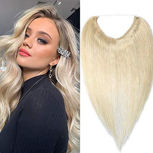 (40-55cm) Extension Capelli Veri con Filo Invisibile 60g Fascia Unica Remy Human Hair Extension 40cm Capelli Umani - 60 Biondo Platino