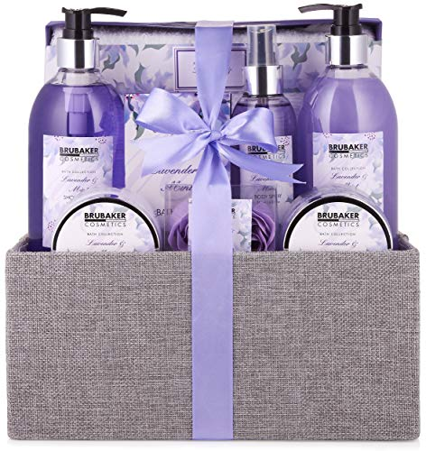 BRUBAKER Set beauty da bagno e doccia lavanda & menta - Set regalo in 12 pezzi in un cestino di juta decorativo