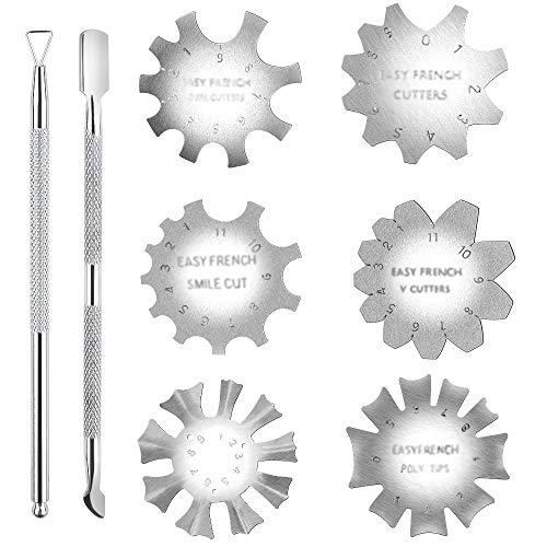 6PCS Manicure Edge Trimmer 1PCS Sbucciatore Triangolare per Smalto per Unghie 1PCS Cuticle Pusher French Smile Line Cutter per Unghie Acriliche Nail Art