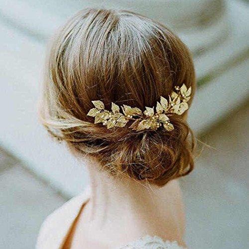Aukmla fascia nuziale per capelli con foglie di vite e strass, color oro, vintage, accessori per capelli da matrimonio, per sposa e damigelle d'onore