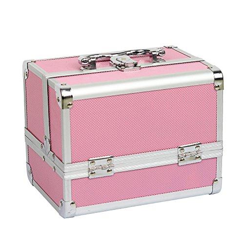 HBF Valigetta Trucchi Rosa Accessori Bellezza Organizer Cosmetici con Specchio Fisso Valigia Trucco Make Up Professionale