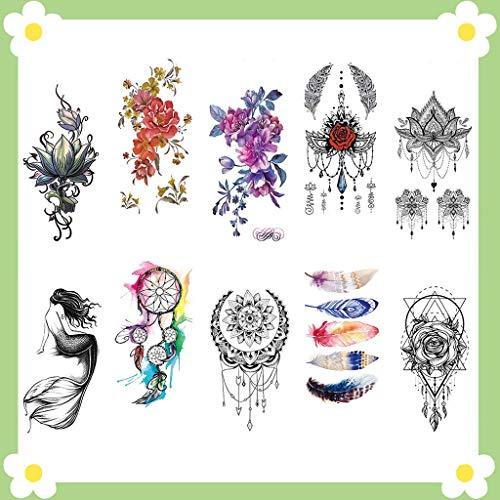 CARGEN® 10 Fogli Tatuaggi Temporanei Fiore Petalo Tatuaggio Mandala Body Art Pittura Ad Acquerello Sogno Acchiappasogni Adesivi Per Donne Ragazze Petto Gambe Braccio