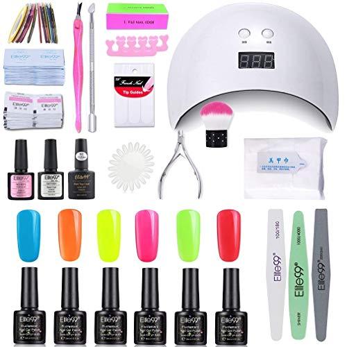 Elite99 Smalto Semipermanente per unghie Kit di Partenza in 6 coloris Gel 24 W LED Lampada UV Nail Dryer Soak Off Topcoat Basecoat Nail Art Tool Set di Adesivi per Manicure Set per Manicure 10ML C005