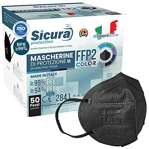 50 Mascherine FFP2 Certificate CE nere Made in Italy con Elastici Neri logo SICURA impresso BFE ≥99% Mascherina ffp2 italiana SANIFICATA e sigillata. Pluri certificata ISO 13485 e ISO 9001