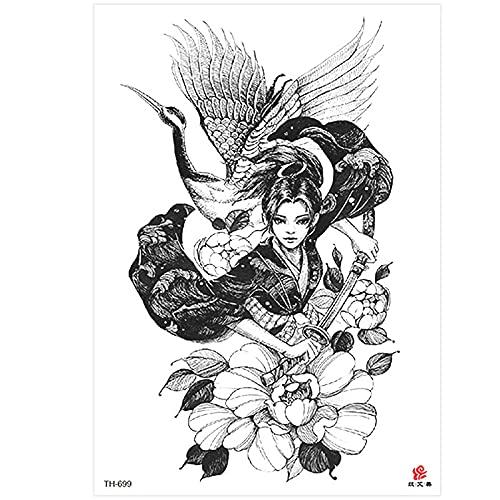 tzxdbh Nuovo Mezzo Braccio Autoadesivo del Tatuaggio Geisha Impermeabile Fiore Braccio Autoadesivo del Tatuaggio Tatuaggio Avatar di Bellezza
