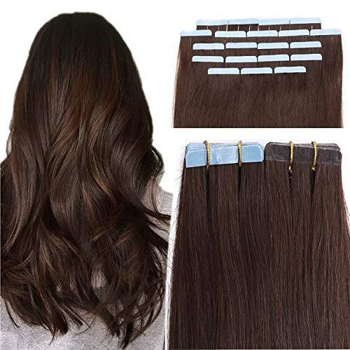 SEGO Extension Biadesivo Capelli Veri Biadesive 20 Ciocche Adesive Tape Extensions per Capelli Sottili 30g 100% Remy Human Hair 30cm #4 Marrone Cioccolato