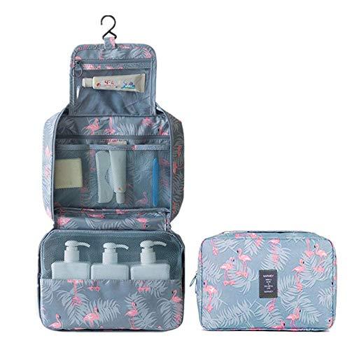 WYMAODAN - Beauty case da viaggio, pieghevole, portatile, impermeabile, con fenicotteri, per donne e ragazze