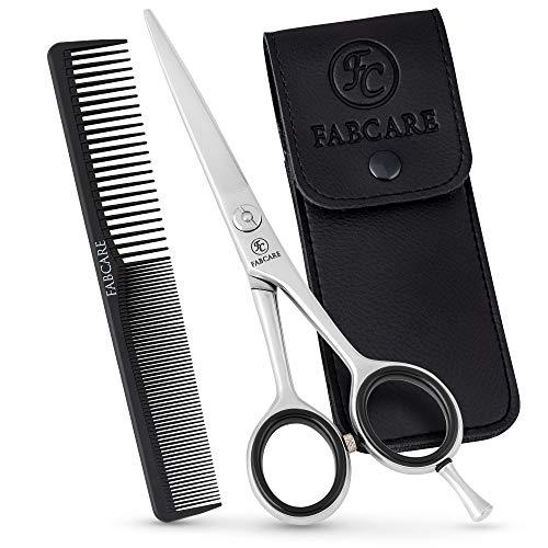 FABCARE Forbici parrucchiere professionali per taglio capelli con pettine e astuccio - con micro-dentatura e vite di precisione - extra affilate in acciaio inossidabile - Forbici per capelli