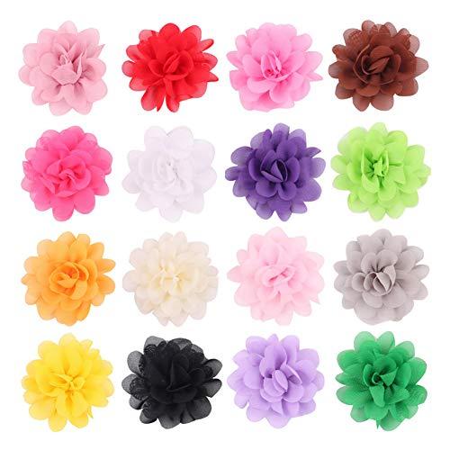 20 fermagli per capelli per bambine, 2 fermagli per capelli in chiffon, a forma di fiore, accessori per capelli, per neonati, adolescenti, bambini (colori misti)