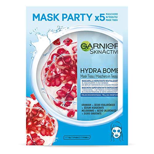 Garnier Maschera in Tessuto HydraBomb, Formula Idratante ed Energizzante per Pelli da Dissetare, Melograno, Confezione da 5