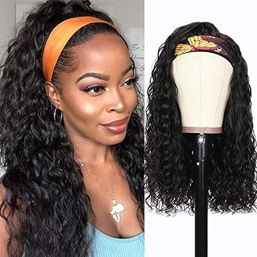 Parrucca donna capelli veri ricci onde capelli Brazilian human hair wigs capelli umani Afro parrucca nera lunga con headband water wave 14inch(35cm)
