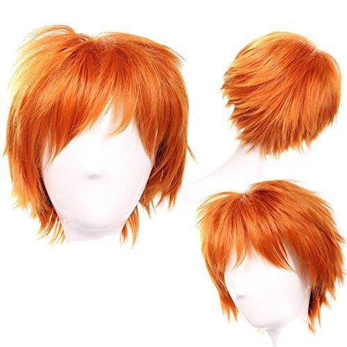 Elailite Parrucca Corta Arancione scuro Parrucche Cosplay Capelli Sintetici Uomo/Donna Vari Colori per Carnevale Party Festa