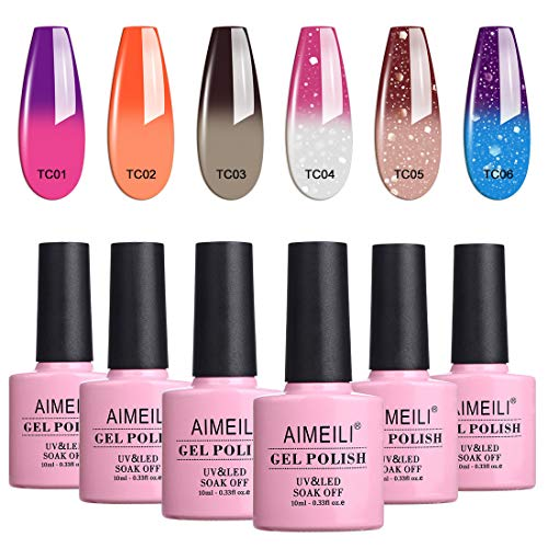 AIMEILI Smalto Semipermente Kit Semipermanente Unghie in Gel UV LED Smalti Colorati Gel per Manicure Soak Off Glitter che Cambia Colore con la Temperatura Gel Polish Set 6 x 10 ml - Set Numero 13
