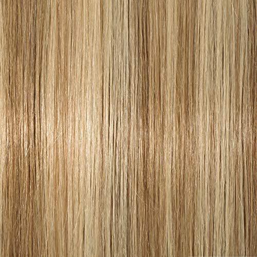 Elailite Extension Capelli Veri Clip Ricci Volumizzante - 8 Fasce Folte Double Weft Balayage 100% Remy Human Hair Mossi 45cm 140g 18#/613# Beige Sabbia Biondo/Bleach Biondo