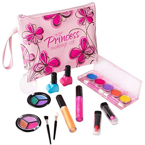 Playkidz My First Princess Set Trucco Realistico (Lavabile) con Borsa cosmetica Floreale di Design, Colore Pink, PK3032
