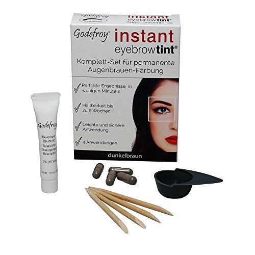Godefroy Nuovo colore sopracciglia faerbe Set Instant Eyebrow Tint, Marrone Scuro, 1er Pack (1X 4pezzi)