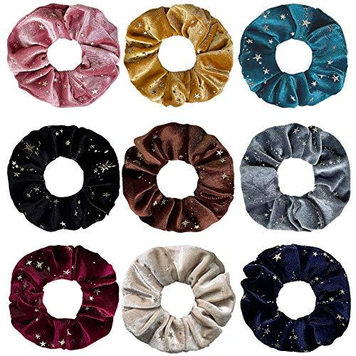 Confezione da 9 elastici per capelli in velluto di alta qualità per ragazze, accessori per capelli da donna