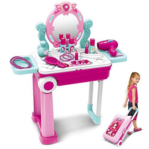 Dreamon Tabella di Trucco e Valigia 2 in 1 con Accessori Specchio Luce e Suono per Bambini, Rosa