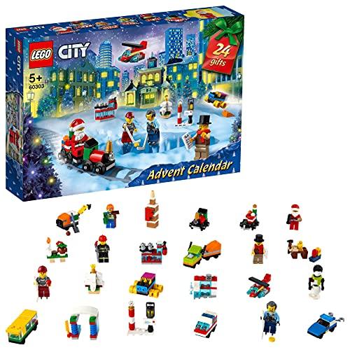 LEGO City Calendario dell'Avvento 2021, Giocattoli Natalizi per Bambini dai 5 Annicon Tappetino e 6 Personaggi, 60303