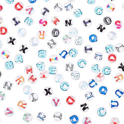 PandaHall 104pcs cabochon in Vetro con Lettere Maiuscole, Alfabeto AZ Mosaico Immagine Stampata Cabochons di Vetro 12mm Semicircolare per Creazione di Gioielli con Ciondolo Fotografico
