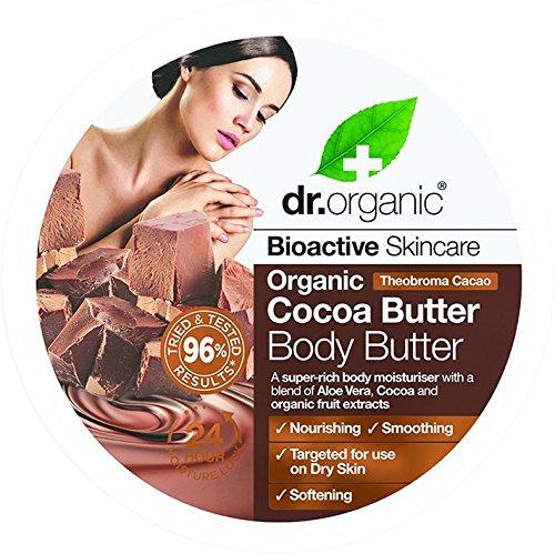 Dr. Organic Organic Cocoa Butter - Body Butter, Burro Corpo Golosissimo Al Cioccolato, Una Delizia Per La Pelle - 200 Gr