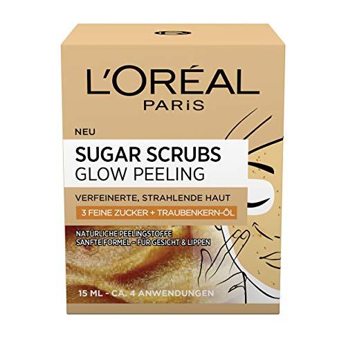 L'Oréal Paris Sugar Scrubs Glow, esfoliante viso con zucchero e olio di semi d'uva, per una pelle liscia e luminosa, confezione da 2 (2 x 15 ml)
