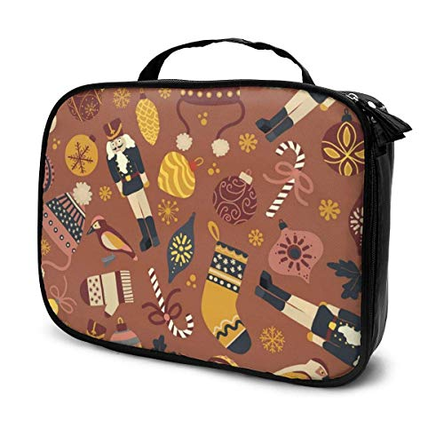 Lawenp Vintage Christmas Seamless Pattern Tile Travel Makeup Train Case Makeup Cosmetic Case Organizer Portable Artist Storage Bag for Cosmetics Makeup Brushes Articoli da toeletta Gioielli Accessori