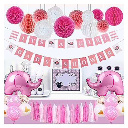 JSJJATF Palloncini Tatuaggi Bambino Doccia per Girl Elephant Theme E 'Banner Doccia Una Ragazza di Partito Decorazione con elefantino Palloncini Rosa Ragazze (Color : Baby Shower for Girl)