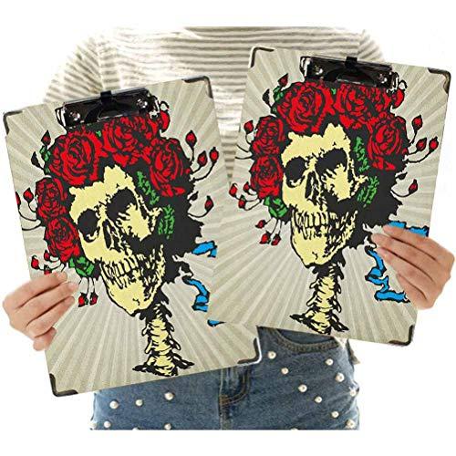 2 pz Lettera Formato Appunti Tatuaggio Art Style Graphic Skull in Fiori Rossi Corona Halloween Composizione Stampa Appunti Decorativi per Ufficio Scuola Pannello Rigido Con Clip Basso Profilo