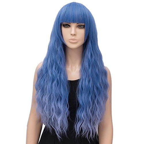 Parrucca Ondulata Lunga Misto Blu Viola, FiveFour Parrucche Donna Sintetiche con Frangia per Uso Quotidiano e Festa