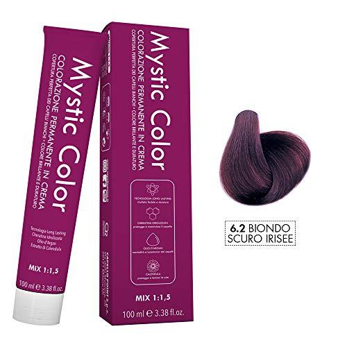 Mystic Color - Colore Biondo Scuro Viola 6.2 - Tinta per Capelli - Colorazione Professionale in Crema a Lunga Durata - Con Cheratina Idrolizzata, Olio di Argan e Calendula - 100 ml