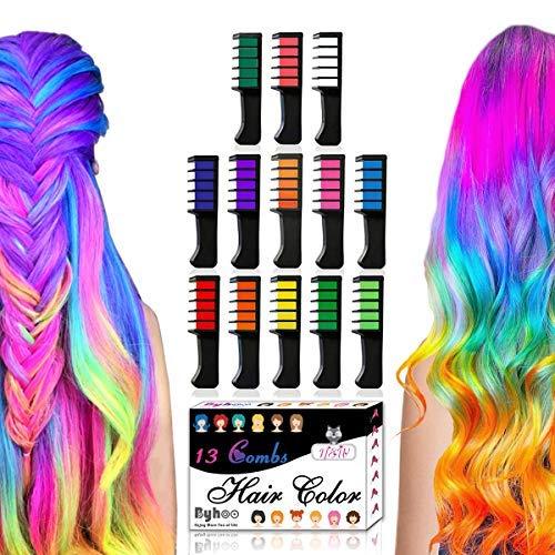 Byhoo - Set di 13 pettini con gessetti per colorazione temporanea dei capelli, glitterati, per bambini, lavabili, ideali come regalo di compleanno e Halloween
