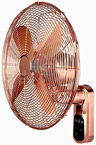 Knoijijuo Ventilatore retrò in Metallo Telecomando, Funzione Timer, Ventilatore A Muro Ultra Silenzioso Oro Adatto per Sale Conferenze,35cm