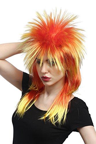 WIG ME UP - Parrucca da Carnevale Punk Taglio alla Vokuhila Rocker Wild Wave Anni 80 Toupet Lunga Colori Rosso Giallo DH1069-PC2BTPC13