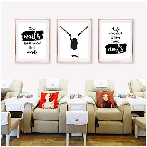 DLFALG Nail Art Salone di Bellezza Decorazione da Parete Nail Art Wall Art Canvas Painting Nail Polish Citazioni Poster e Stampe Nail Tech Artista Regalo 42x60x3 Senza Cornice